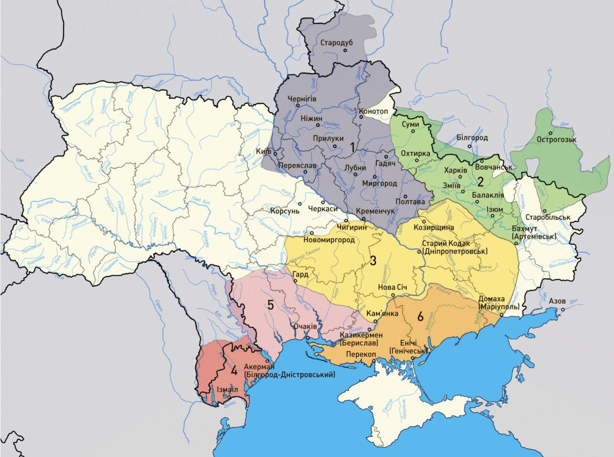 Карта земель України у другій половині 18 століття