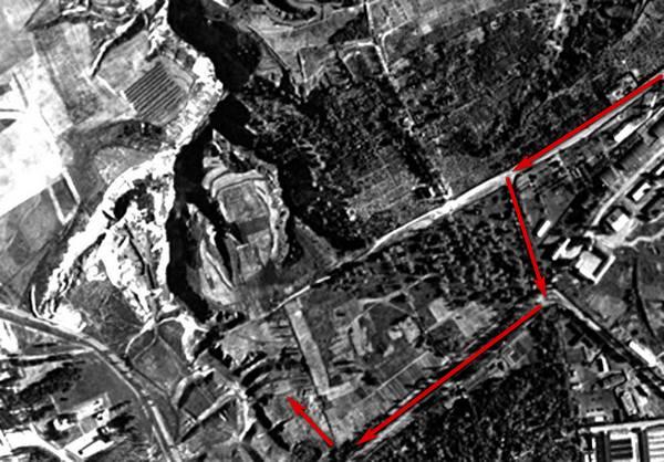 Бабин Яр та околиці на німецькому аерофото 1943 року